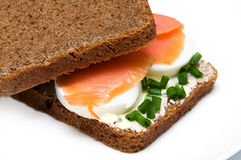 Sandwich with smoked salmon Stock Photography