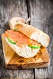 Sandwich with smoked salmon, cream cheese, cucumber Stock Image