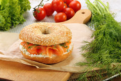 Sandwich with smoked salmon and dill Stock Photography