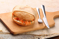 Sandwich with smoked salmon and dill Stock Image