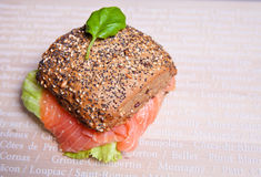 Sandwich with smoked salmon and multigrained bread Stock Photos