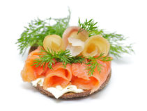 Sandwich with Smoked Salmon and Sturgeon. Cheese Crème and Dill Royalty Free Stock Photo