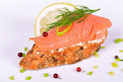 Sandwich with smoked salmon Stock Photos