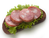 Sandwich with smoked sausage Royalty Free Stock Photography