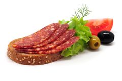 Sandwich with smoked sousage isolated on white backgrund.  stock photography