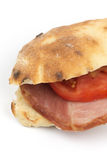 Sandwich somun smoked ham tomato copy space Royalty Free Stock Photo
