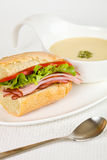 Sandwich and soup Royalty Free Stock Images