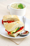 Sandwich with soup Royalty Free Stock Photos