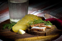 Sandwich with spiced lard. Served with garlic, pickled cucumber and vodka Royalty Free Stock Photography
