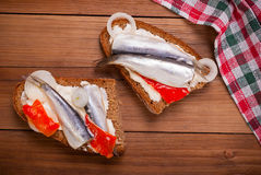 Sandwich with a sprat . Stock Photo