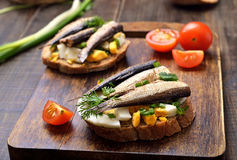 Sandwich with sprats, egg and green onion Royalty Free Stock Image
