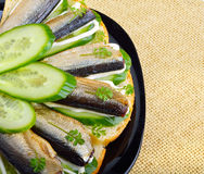 Sandwich with sprats and green cucumber Stock Image