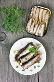 Sandwich with sprats and green onion Stock Photo