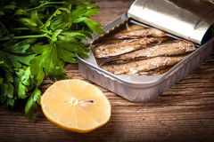 Sandwich with sprats. Royalty Free Stock Images