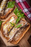 Sandwich with sprats. Stock Photography