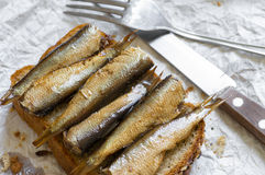 Sandwich with sprats in a rustic style Royalty Free Stock Photos