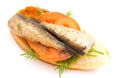 Sandwich with sprats and tomato Stock Photo
