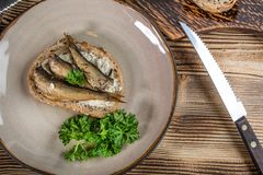 Sandwich with sprats. royalty free stock photography