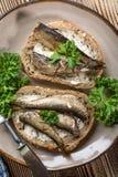 Sandwich with sprats. stock photo