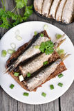 Sandwich with sprats on wooden table Royalty Free Stock Images
