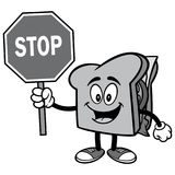 Sandwich with Stop Sign Illustration Royalty Free Stock Photo