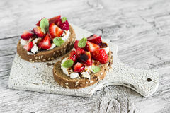 Sandwich with strawberries, soft cheese and balsamic vinegar Stock Image