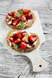 Sandwich with strawberries, soft cheese and balsamic vinegar Royalty Free Stock Photos