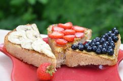 sandwich with strawberry blueberries and peanut butter on a red plate. top view of a sandwich on a background of green foliage in stock photos