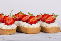 Sandwich of strawberry and cottage cheese  , close up Stock Photos
