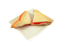Sandwich with Strawberry on plate Royalty Free Stock Image