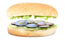Sandwich stuffed with euro coins Stock Photo