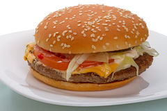 Sandwich sulla zolla bianca Fotografia Stock