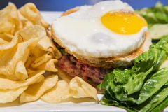 Sandwich tartare de boeuf angus Royalty Free Stock Photos