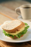 Sandwich & tea. Cheese sandwich and a cup of tea royalty free stock image