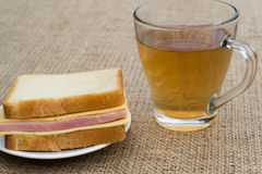 Sandwich with tea Stock Image