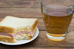 Sandwich with tea Stock Photos