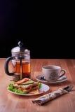 Sandwich and tea. Stock Photo