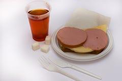 Sandwich with tea Royalty Free Stock Photos