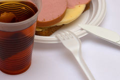 Sandwich with tea Stock Images