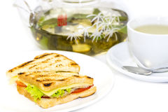 Sandwich with tea Royalty Free Stock Photo