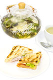 Sandwich with tea Stock Photography