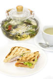 Sandwich with tea Royalty Free Stock Image