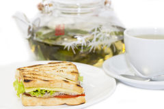 Sandwich and tea Royalty Free Stock Images