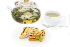Sandwich and tea Stock Image