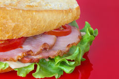 Sandwich with tenderloin. Isolated on red background Royalty Free Stock Photography