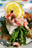 Sandwich toast. Club sandwich on toast bread with fish prawns salad and lemon. traditional open sandwich from denmark called a stjerneskud or shooting star Stock Images