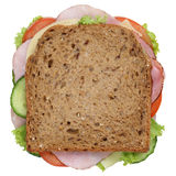 Sandwich toast bread for breakfast with ham top view isolated Royalty Free Stock Photos