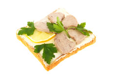 Sandwich Toast,cod Liver, Slices Of Lemon And Pars Stock Photos