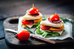 Sandwich toast grilled with cheese, salami,tomato and salad Stock Photo