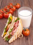 Sandwich toast and milk Stock Image